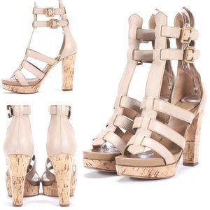 Chloe Beige Pebbled Leather Platform Sandals 40/10